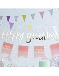 """Guirlande décorative dorée écriture """"Happy birthday»"""