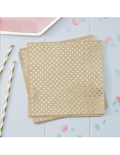 20 Serviettes en papier coloris kraft pois dorés