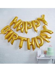 GUIRLANDE BALLON HAPPY BIRTHDAY DOREE