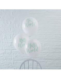 """10 ballons blancs avec écriture """"Hello World """" vert menthe"""