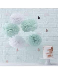 5 pompons en papier de soie vert menthe et blanc