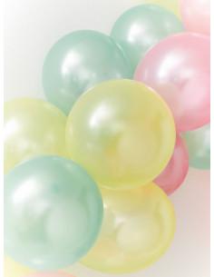 15 ballons nacrés pastels verts