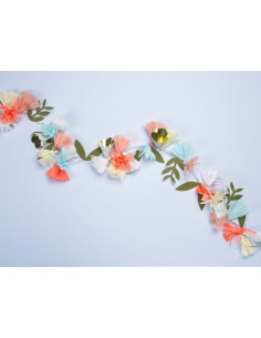 Guirlande fleurs en papier pastel orange fluo et doré meri meri