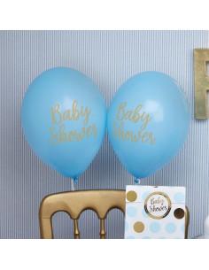 "8 ballons bleus écriture ""Baby Shower"""