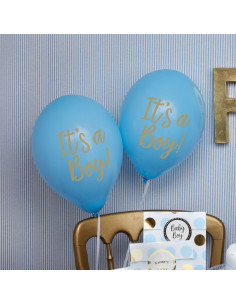 """8 ballons bleus écriture """"It's a boy"""""""