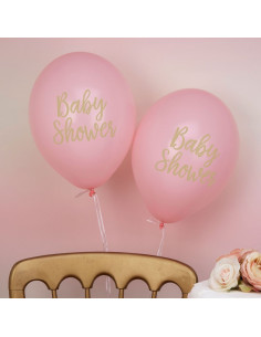 """8 ballons roses écriture """"Baby Shower"""""""