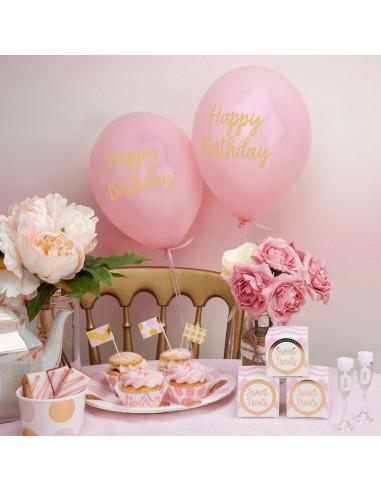 "8 ballons roses écriture ""Happy Birthday"""