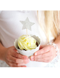 12 piques cupcakes étoiles recto doré verso argent