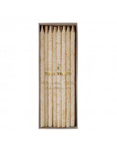 24 longues bougies ivoires paillettes dorées meri meri