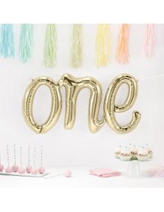 """Ballon métallique or blanc mot «One"""""""