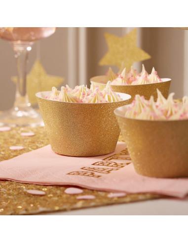 10 Habillages caissettes gâteaux paillettes dorées