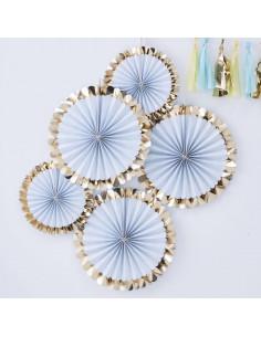 5 rosaces décoratives rayures bleu ciel et blanchesbordure dorée