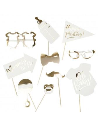 Kit Photobooth Baby Shower Blanc Et Or