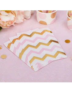25 sachets en papier avec chevrons roses et dorés
