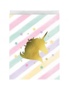 10 sachets pastels avec licorne dorée pour cadeaux invités