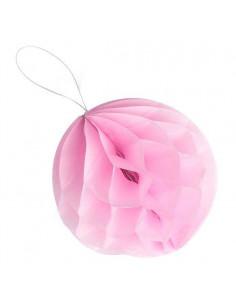 8 petites boules papier alvéolées rose pastel 10cms