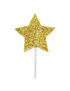 12 piques à gâteaux étoiles dorées
