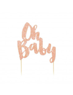 """Décoration gateau """"Oh Baby"""" rose gold"""