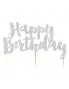 Décoration gateau Happy Birthday argent