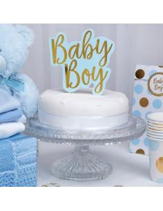"""Décoration gateau Cake topper """"Baby Boy"""" bleu et doré"""