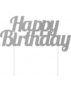 Décoration gateau cake topper Happy Birthday Argent