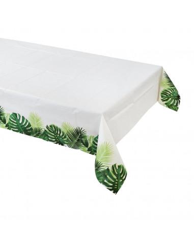 Nappe en papier ivoire avec feuilles de palmiers sur côté