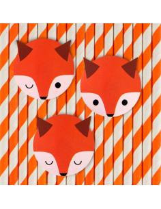 12 pailles rayées orange et blanc avec renard my little day