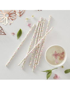 25 pailles en papier avec fleurs bohèmes