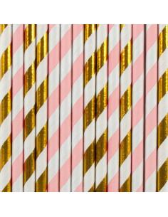 25 pailles en papier rayures rose pastel et or my little day