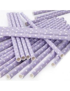 25 Pailles rétros lilas à pois blancs en papier