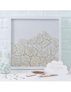 Cadre livre d'or avec nuages bois