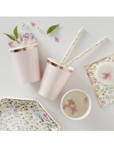 8 gobelets rose pastel avec pois et bordure rose gold
