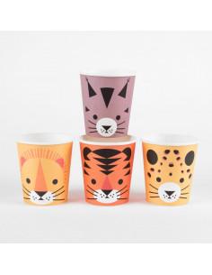 8 gobelets animaux de la jungle my little day