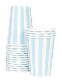 12 gobelets rayures bleu ciel et ivoire