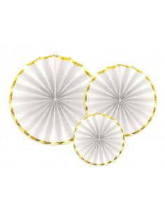3-rosaces-blanches-bordure-doree-decoration-baby-shower-bapteme-anniversaire-mariage