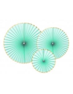 3-rosaces-vert-menthe-bordure-doree-decoration-baby-shower-bapteme-anniversaire-mariage