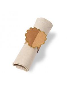 8 ronds de serviettes kraft bordure frise dorée