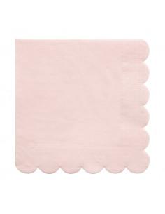 20 petites serviettes rose pastel bordure frise meri meri