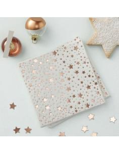 20 petites serviettes étoiles rose gold