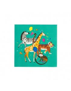 """20 grandes serviettes """"La fête des animaux de la jungle"""""""
