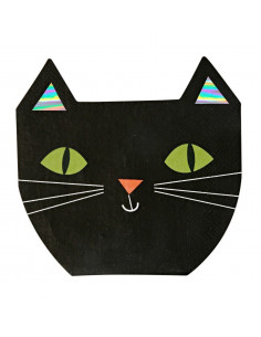 16 serviettes de table chat noir pour décoration Halloween