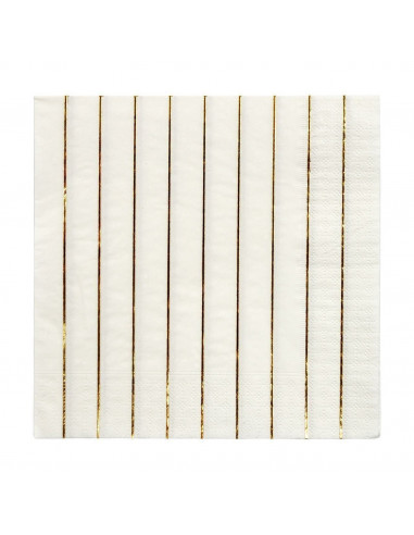 16 petites serviettes blanches rayures dorées meri meri