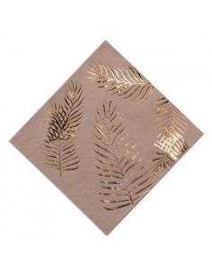 16 grandes serviettes kraft feuilles de palmiers dorées
