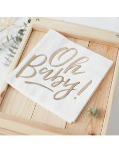 16 grandes serviettes ivoires écriture Oh Baby dorée