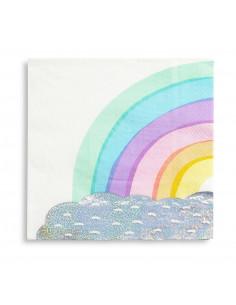 16 grandes serviettes arc en ciel