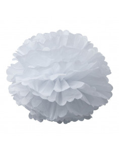 2 pompons en papier de soie blancs 50cms et 40cms