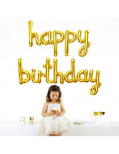 """Ballon métallique doré """"Happy Birthday"""""""