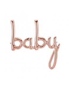 """Ballon métallique rose gold écriture """"Baby"""""""