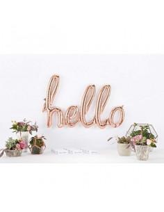 """Ballon métallique rose gold écriture """"Hello"""""""