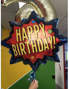 "Ballon étoile super héros ""Happy Birthday"" 81cms"